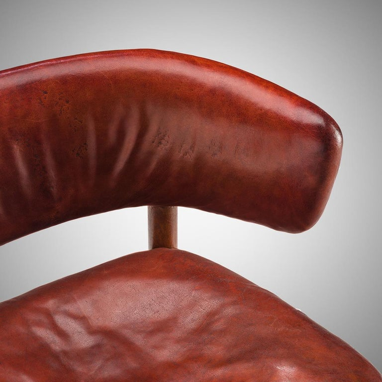 Rare Hans-Christian Hansen and Viggo Jørgensen Chair in Original Red Leather 1