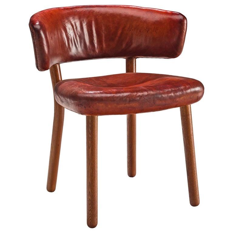 Rare Hans-Christian Hansen and Viggo Jørgensen Chair in Original Red Leather