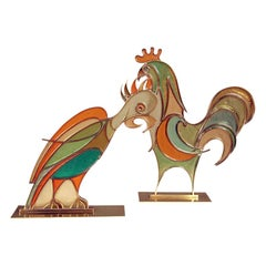 Rare Hans Hagenauer Rooster and Parrot Figures