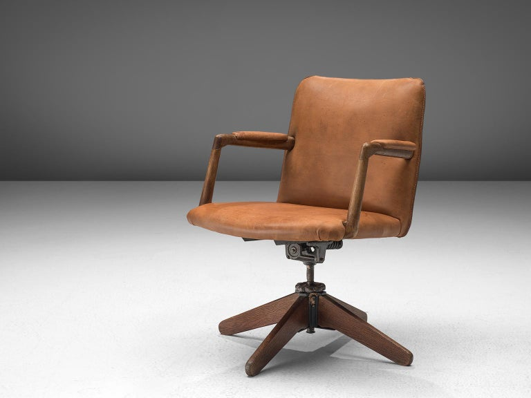 Rare Hans J Wegner A721 Swivel Desk Chair In Cognac