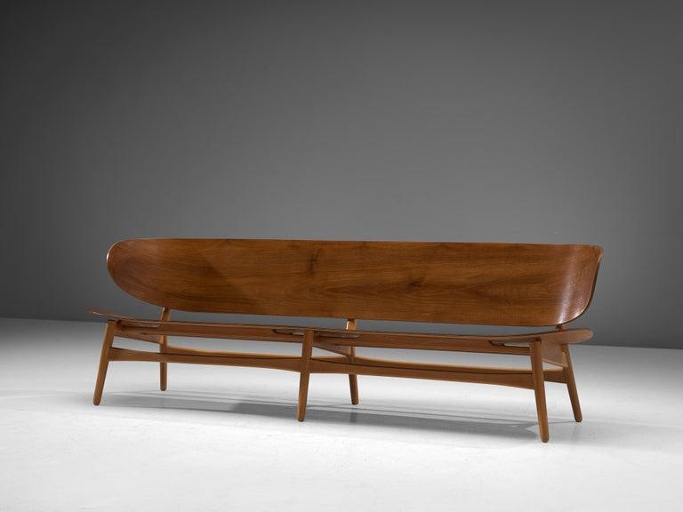 Danish Rare Hans J. Wegner Bench FH 1935/4 in Walnut For Sale