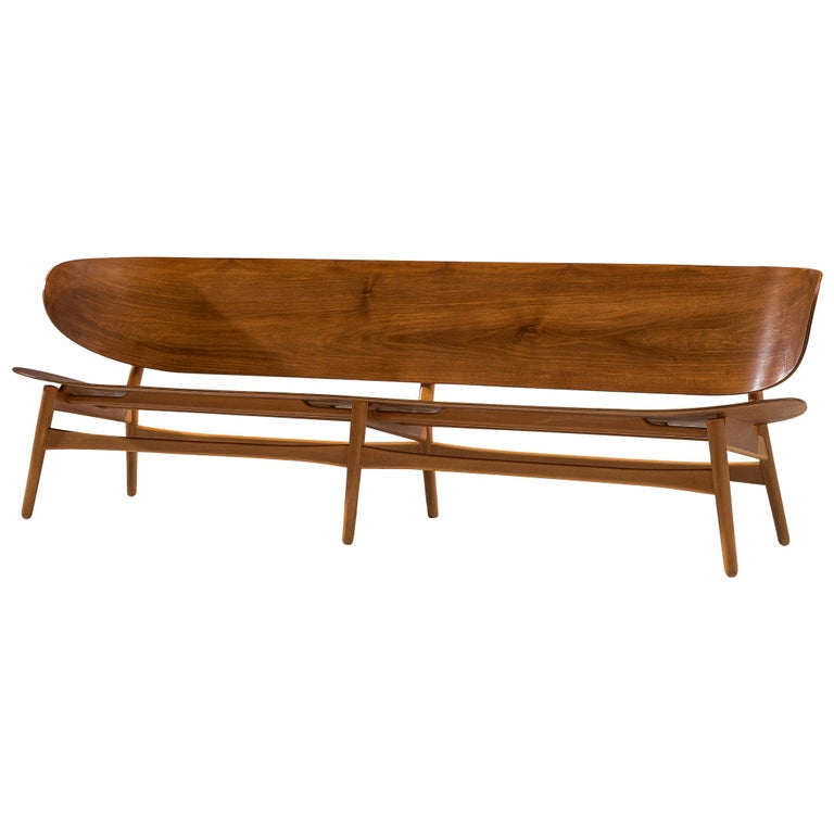 Rare Hans J. Wegner Bench FH 1935/4 in Walnut For Sale