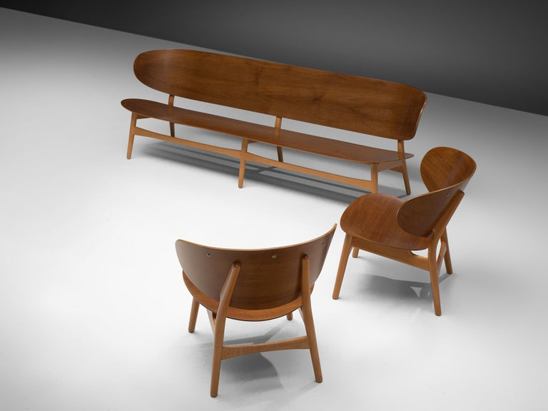 Scandinavian Modern Rare Hans J. Wegner Lounge Set with Rare Four-Seat Bench For Sale