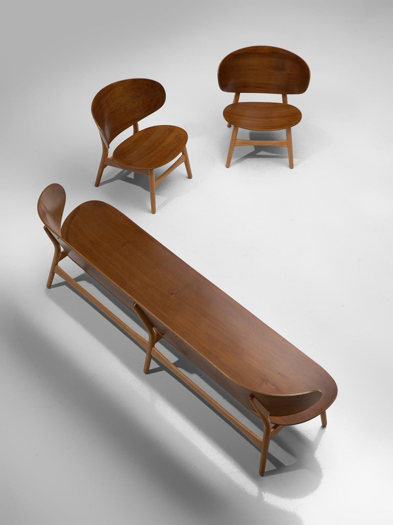 Danish Rare Hans J. Wegner Lounge Set with Rare Four-Seat Bench For Sale