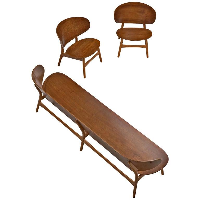 Rare Hans J. Wegner Lounge Set with Rare Four-Seat Bench For Sale