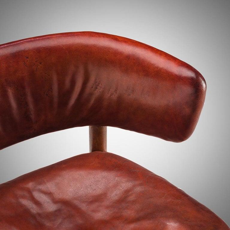 Rare Hansen & Jørgensen Chair in Original Leather and Gardella 'Arenzano' Lamp For Sale 4