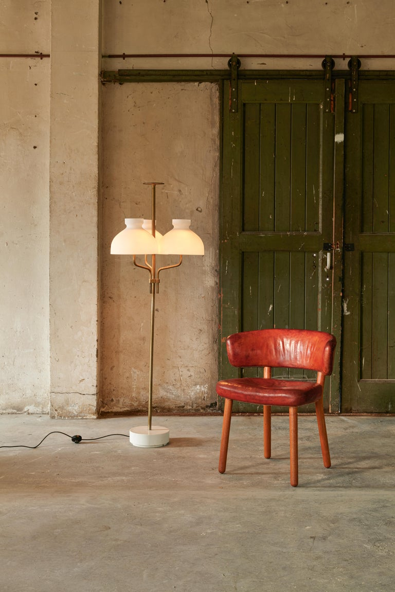 Hans-Christian Hansen and Viggo Jørgensen for Johannes Hansen, side chair, red buffalo leather, ash, Denmark, 1936   This chair is a very early example of Scandinavian Modern design with clear simplified lines and high-quality materials. This rare