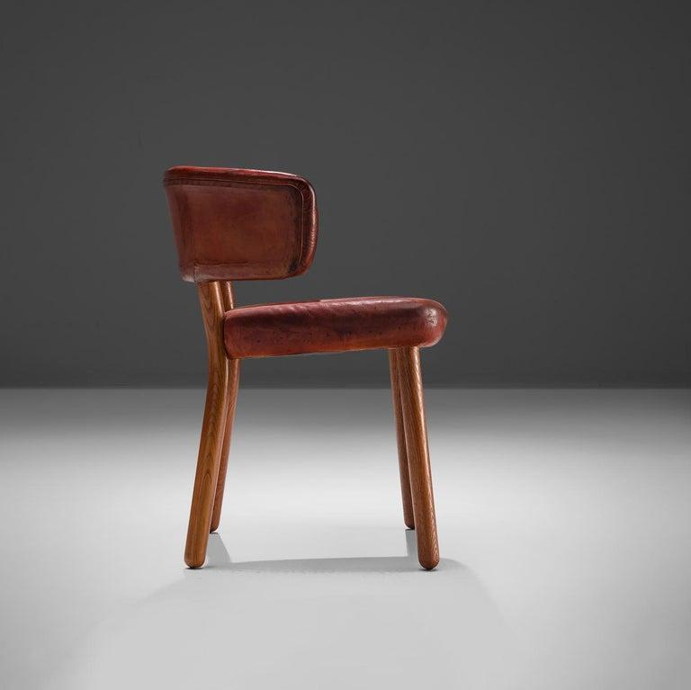 Rare Hansen & Jørgensen Chair in Original Leather and Gardella 'Arenzano' Lamp In Good Condition For Sale In Waalwijk, NL