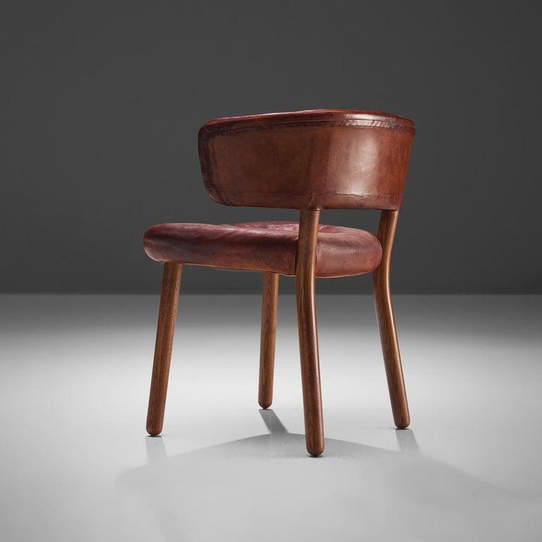 Brass Rare Hansen & Jørgensen Chair in Original Leather and Gardella 'Arenzano' Lamp For Sale