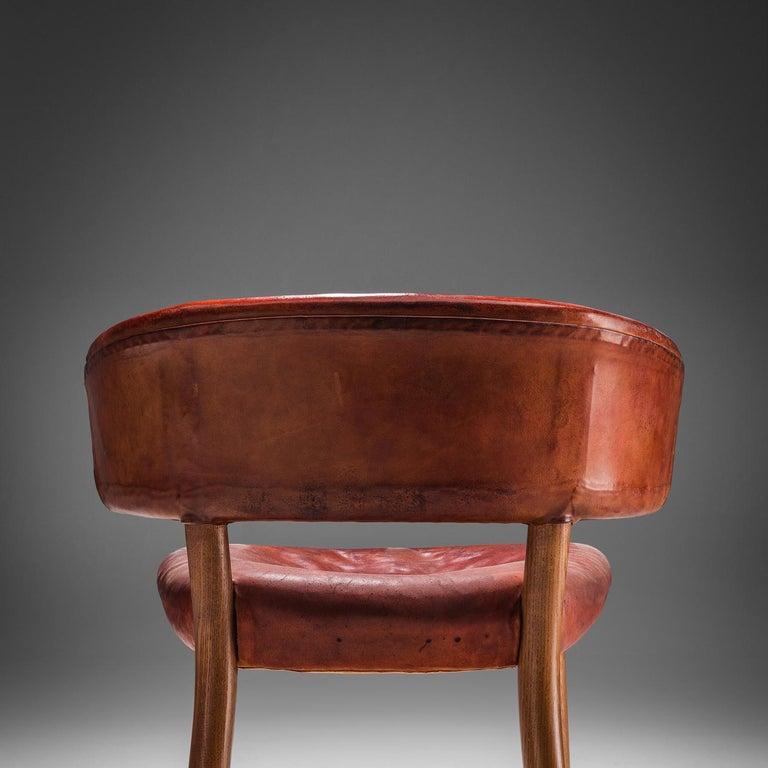 Rare Hansen & Jørgensen Chair in Original Leather and Gardella 'Arenzano' Lamp For Sale 2