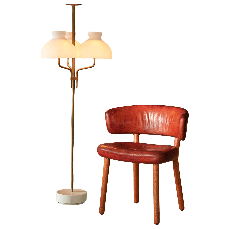 Rare Hansen & Jørgensen Chair in Original Leather and Gardella 'Arenzano' Lamp