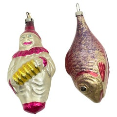 Rare Harlequin and Fish Christmas Ornament Vintage, German, 1930s