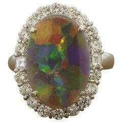 Rare Harlequin Australian Opal Diamond Platinum Ring