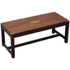 Rare Harrods London Mahogany Kennedy Furniture Military Campaign Coffee Table