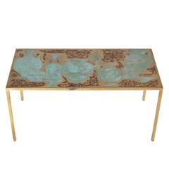 Rare Harvey Probber Acid-Etched and Patinated Bronze Sofa Table, circa 1960s