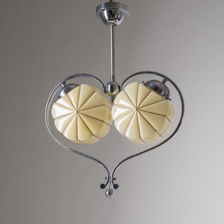 Rare Heart Shaped Art Deco Chandelier, 1930s For Sale 4