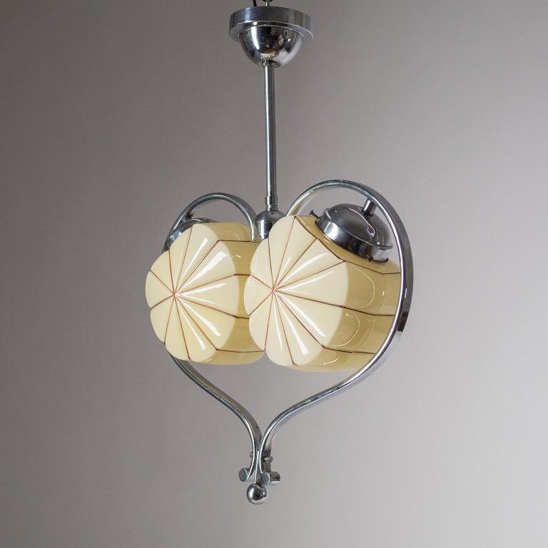 Rare Heart Shaped Art Deco Chandelier, 1930s For Sale 5