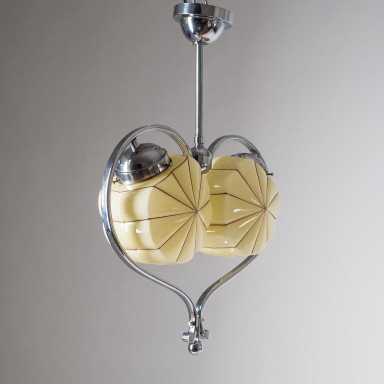 Rare Heart Shaped Art Deco Chandelier, 1930s For Sale 7