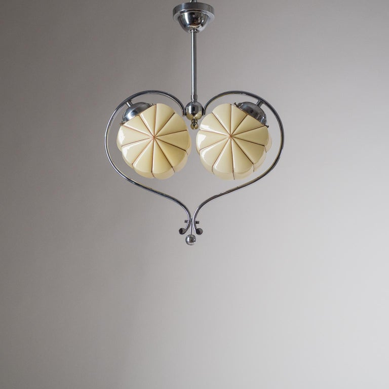 Rare Heart Shaped Art Deco Chandelier, 1930s For Sale 8