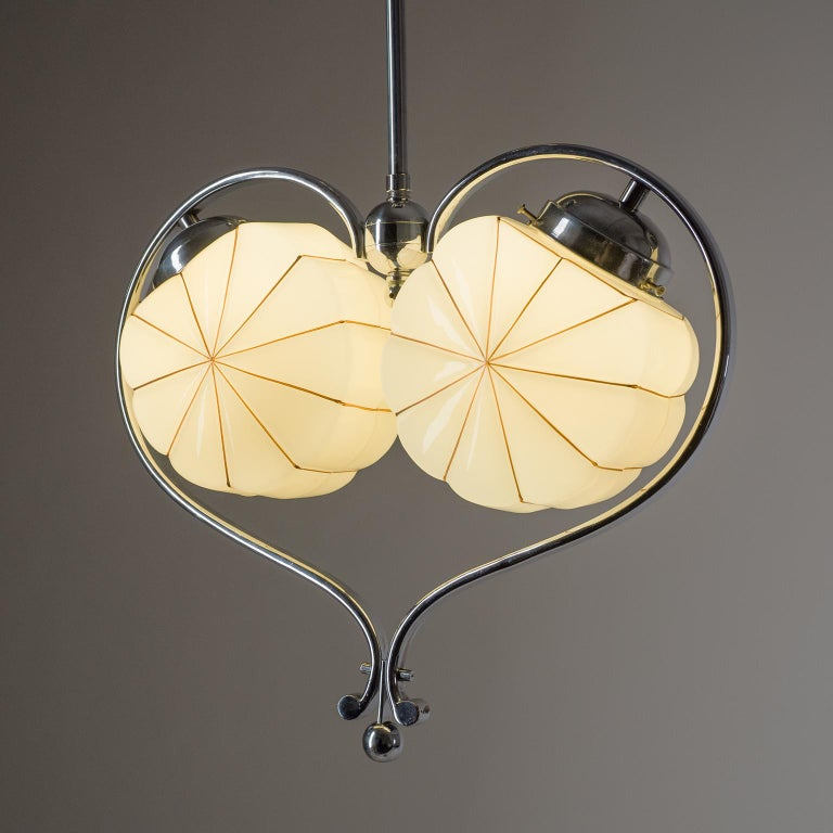 Enameled Rare Heart Shaped Art Deco Chandelier, 1930s For Sale