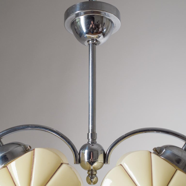 Chrome Rare Heart Shaped Art Deco Chandelier, 1930s For Sale