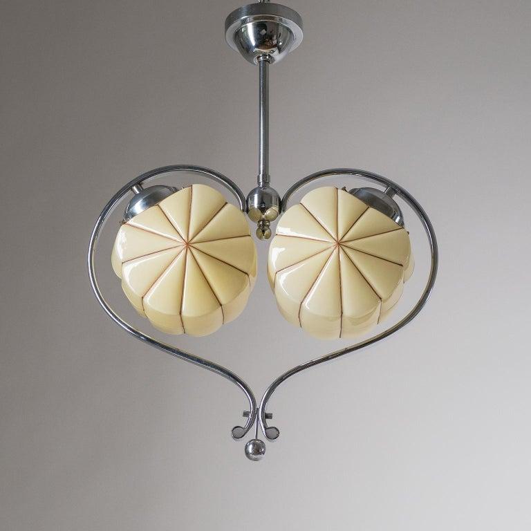 Rare Heart Shaped Art Deco Chandelier, 1930s For Sale 1