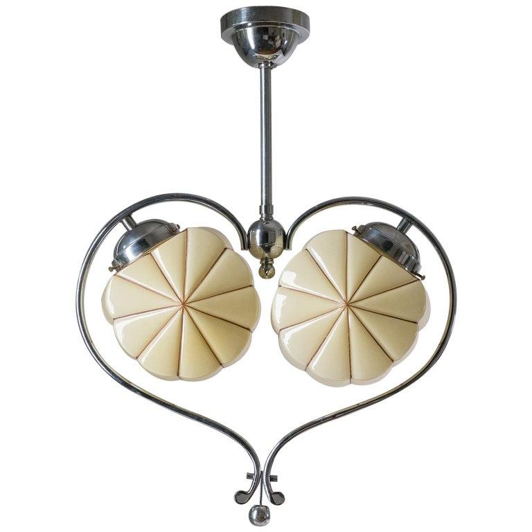 Rare Heart Shaped Art Deco Chandelier, 1930s For Sale