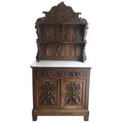 Rare Heartbreakingly Beautiful French Renaissance Carved Oak Sideboard Buffet