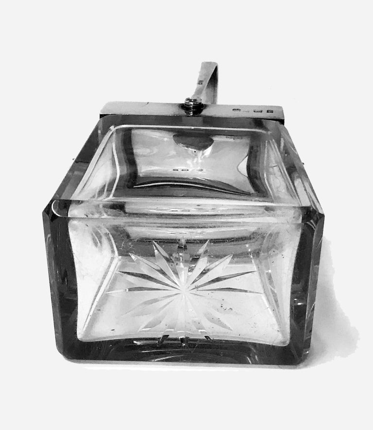 Early 20th Century Rare Heath and Middleton Glass and Silver Mechanical Jar, Birmingham 1906 For Sale