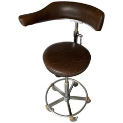 Rare & Height Adjustable Industrial Chrome Artist Studio Spindle Chair or Stool
