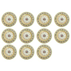 Rare Heinrich & Co. Selb Floral Gold Encrusted Service Cabinet Plates Set of 11