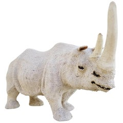 Rare Hemp Fabric Rhino Sculpture, 1950s