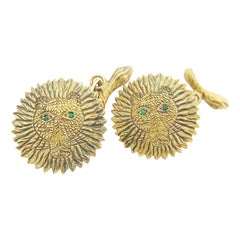 Rare Henri Maïk Lion Emerald Vintage Cufflinks Artist 18 Karat Gold Cufflinks