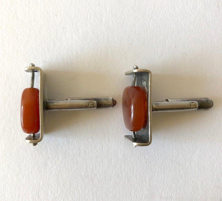 Bead Rare Henry Steig Sterling Silver Carnelian American Modernist Kinetic Cufflinks For Sale
