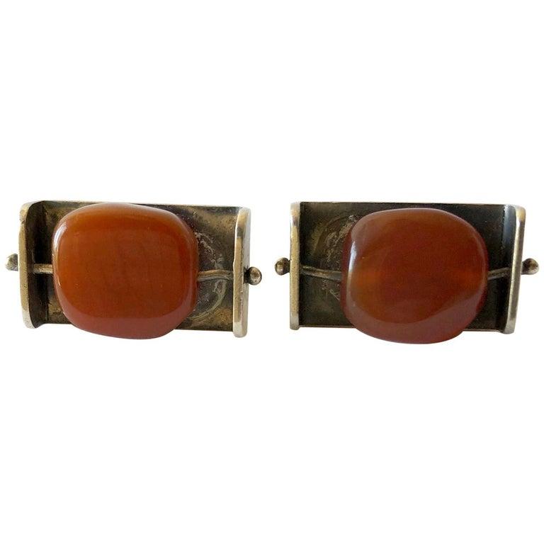 Rare Henry Steig Sterling Silver Carnelian American Modernist Kinetic Cufflinks For Sale