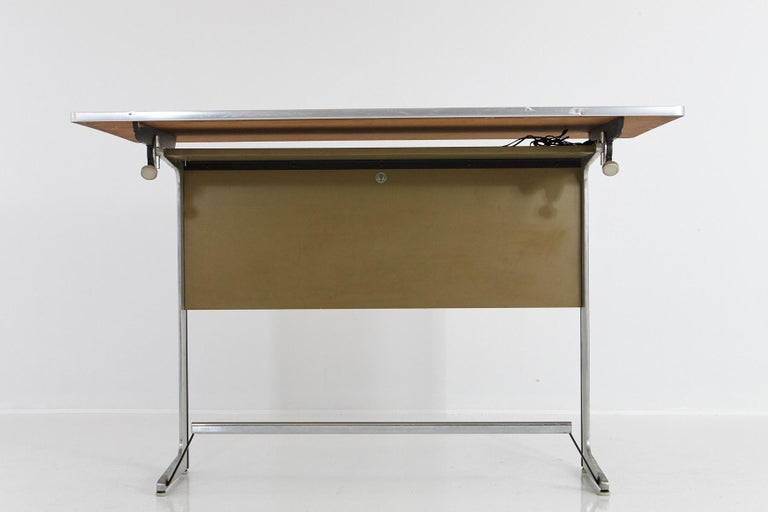 Aluminum Rare Herman Miller Action Office Standing Desk and Drawing Table, 1960s For Sale