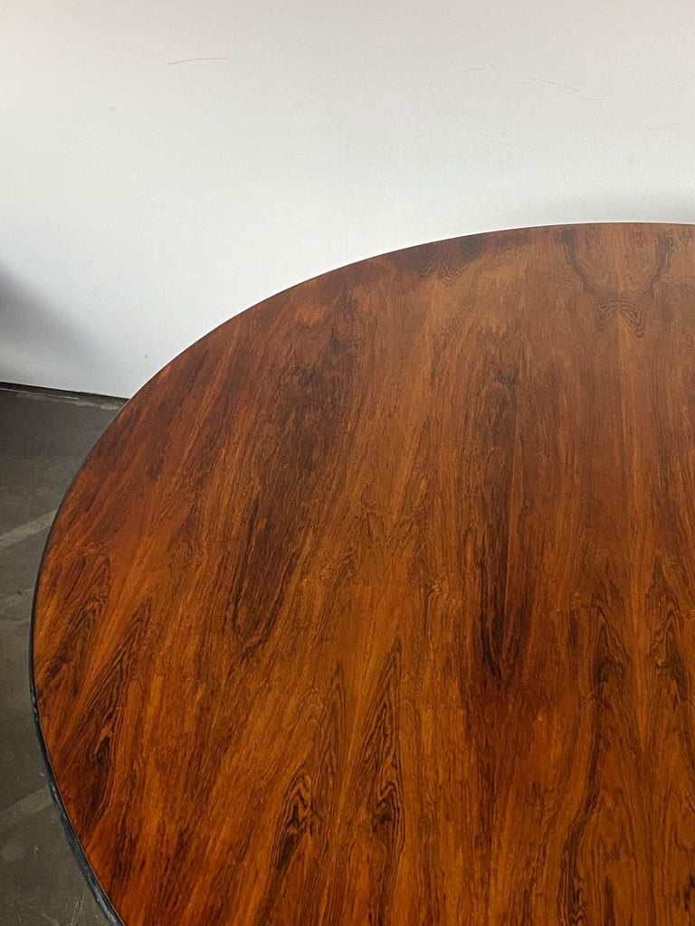 Wood Rare Herman Miller Eames Round Dining Table in Rosewood For Sale