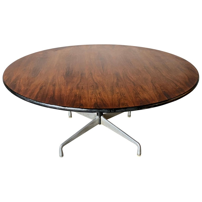 Rare Herman Miller Eames Round Dining Table in Rosewood For Sale