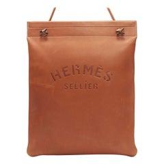 rare HERMES Aline GM Large Seller logo deboss tan leather sboulder tote bag