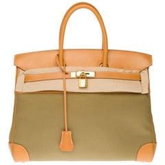 Rare Hermès Birkin 35 bi-material handbag in  khaki canvas and natural leather