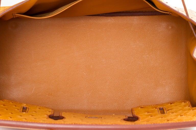 Rare Hermes Birkin 35 Ostrich Sable Gold Bag For Sale 6