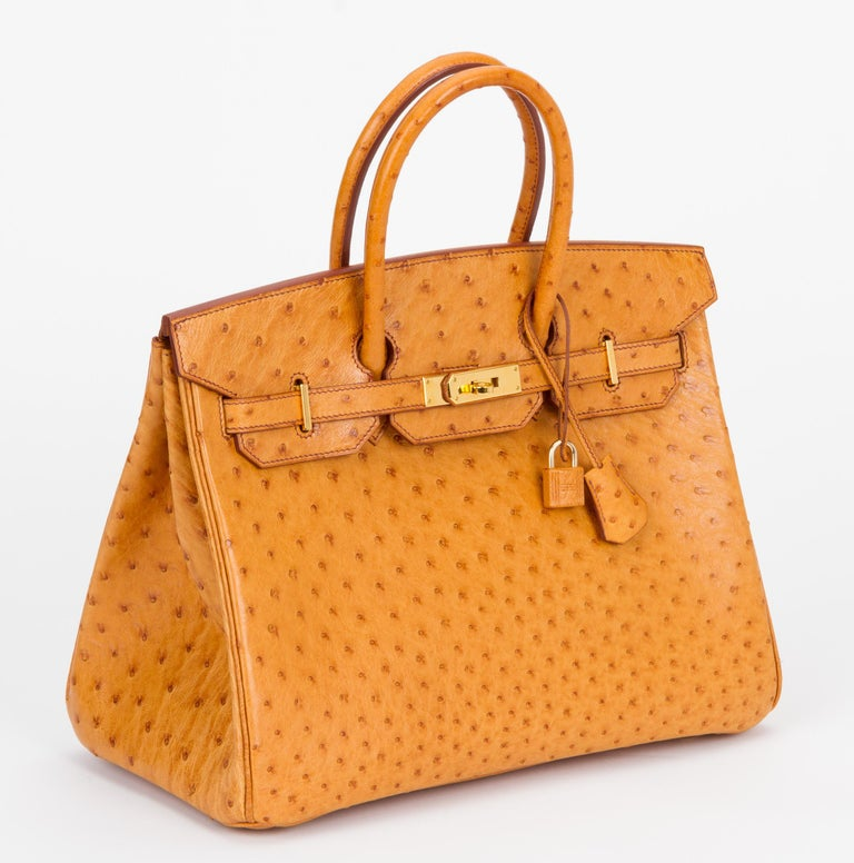 Hermes rare and mint birkin 35 cm in sable ostrich leather with gold tone hardware. Date stamp D for 2000. Comes with clochette, tirette, two locks, keys, dust cover and original box. Box is slightly damaged.