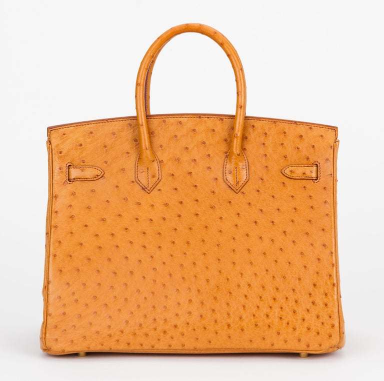 Rare Hermes Birkin 35 Ostrich Sable Gold Bag In Excellent Condition For Sale In Los Angeles, CA