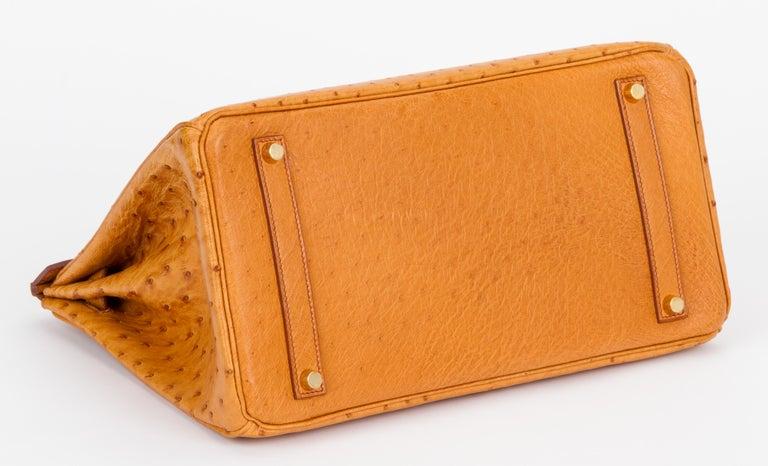 Women's Rare Hermes Birkin 35 Ostrich Sable Gold Bag For Sale