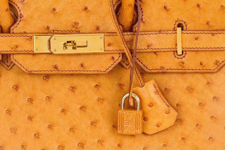 Rare Hermes Birkin 35 Ostrich Sable Gold Bag For Sale 1