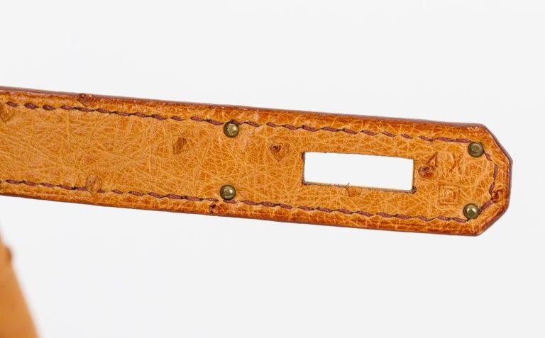 Rare Hermes Birkin 35 Ostrich Sable Gold Bag For Sale 2