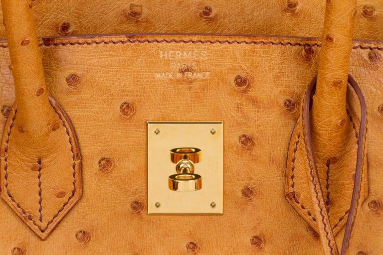 Rare Hermes Birkin 35 Ostrich Sable Gold Bag For Sale 3