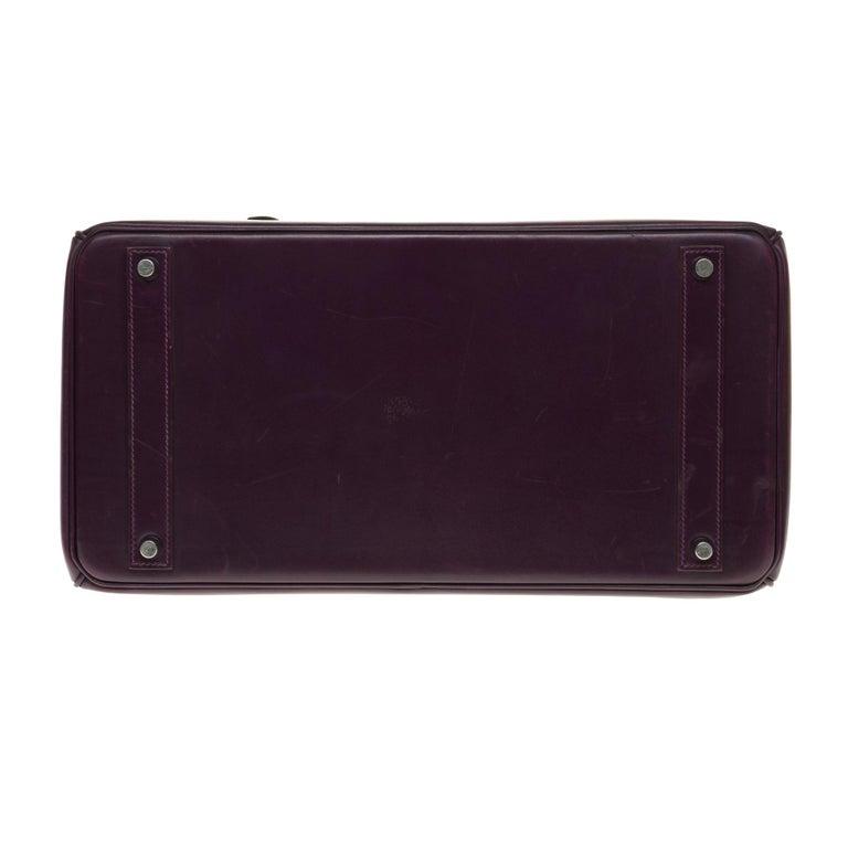 Rare Hermes Birkin 40 handbag in purple Box calfskin and brushed silver hardware 5