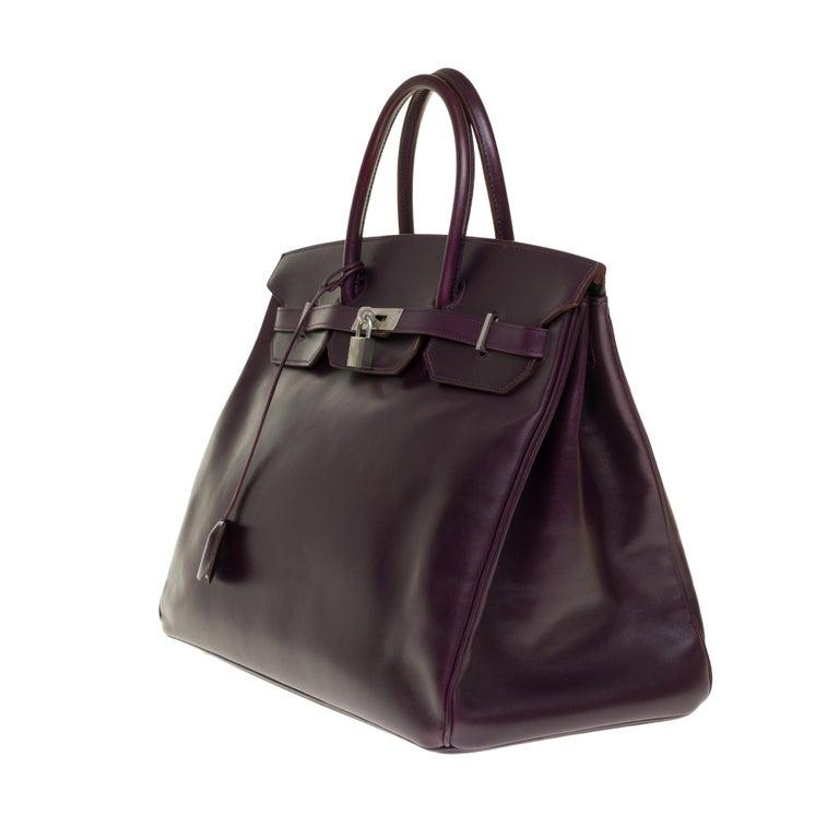 Black Rare Hermes Birkin 40 handbag in purple Box calfskin and brushed silver hardware
