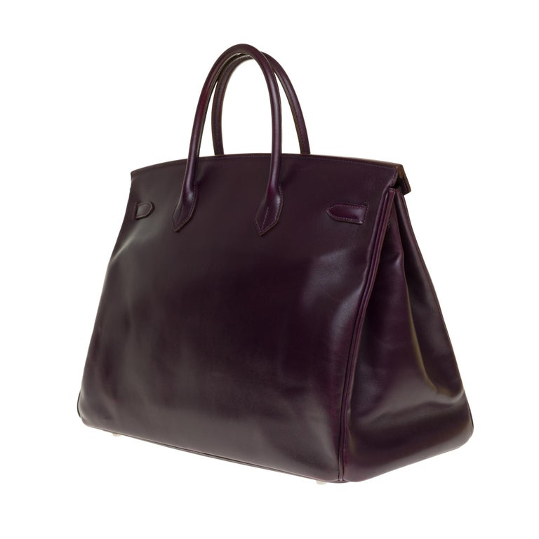 Rare Hermes Birkin 40 handbag in purple Box calfskin and brushed silver hardware In Good Condition In Paris, Paris